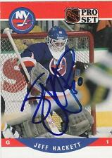 JEFF HACKETT Autographed Signed 1990-91 Pro Set card New York Islanders COA