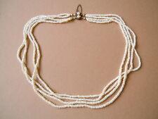 Alte 2 Strang Perlen Kette mit 4 Reihen & vergoldetem Verschluß mit 2 Perlen