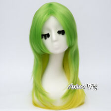 55CM Lolita Ombre Green Mixed Yellow Long Wavy Hair Fashion Cosplay Party Wig