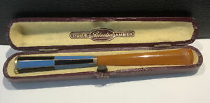 Art Deco Cheroot Holder With Amber Mouth Piece & Silver Collar 10.5cm Long