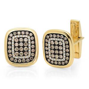 14K Yellow Gold Diamond Cuff Links White Champagne Natural 1.45CT Mens Jewelry