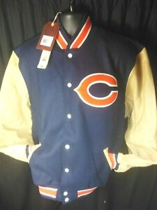 Chicago Bears NFL Men's Mitchell & Ness Wool Body Leather Sleeve Jacket MSRP$575