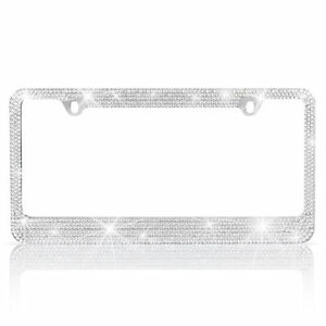 Metal Silver Crystal Diamond Style License Plate Frame Universal Fit