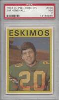1972 OPC football card #100 Jim Henshall, Edmonton Eskimos PSA 7 NM CFL Canadian