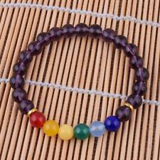 Purple Jasper Crystal Yoga Reiki Bangles 7 Chakra Healing Balance Bracelet 8mm