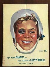 1954 SAN FRANCISCO SF 49ers PRESEASON FOOTBALL PROGRAM v. NEW YORK NY GIANTS