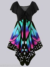 Plus Size Women's Butterfly Design Short Sleeve Party Cocktail Casual Dress