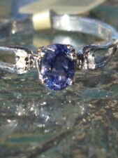 Iolite Oval Cut And Diamond Ring 10kt Solid White Gold