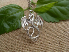 Retro silver Dragon necklace pendant jewelry  retro fire Dragon necklace