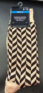 Mens Fun Themed Dress Socks Brown and Tan diamond striped Size 6-12