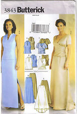 Easy Princess Seam Wrap Top Straight Flared Skirt Sewing Pattern Size 8 10 12