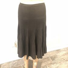 ANNE KLEIN Olive green knitted pleated skirt sz lg