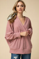 Entro Mauve V-Neck Long Dolman Sleeve Knit Tunic Top