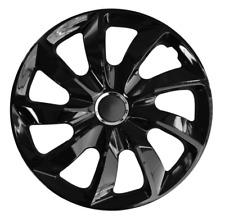16 Inch Wheel Trim Set Gloss Black Set of 4 Univers Hub Caps Covers [STIG Black]