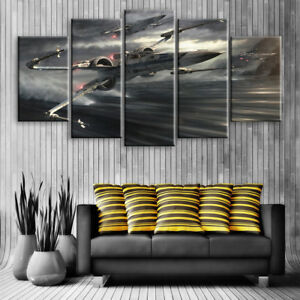 Large Star Wars X Wing Fighter 5 Panel Canvas, Wall Art, Picture, Print #119