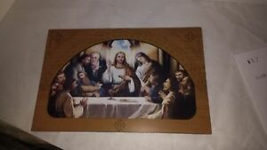 Last Supper icon hanging wood picture, perfect gift, Handcrafted etched wood