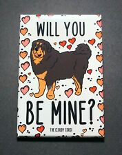 Tibetan Mastiff Dog and Hearts Magnet Valentines Day Gifts Holiday Home Decor