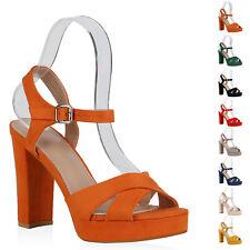 Damen Plateau Sandaletten Blockabsatz Party Schuhe High Heels 896649 Modatipp