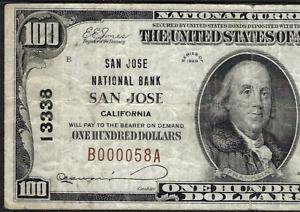 CA 1929 $100 ♚♚SAN JOSE, CALIFORNIA♚♚  PMG VF 20  HARD TO FIND!!!