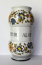 Hand Painted TINOTUR ALOES Apothecary Floral Pottery Utensil Jar Holder Italy