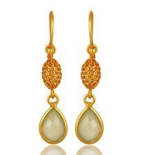 18K Gold Plated 925 Sterling Silver Green Chalcedony Drop Dangle Earring Jewelry