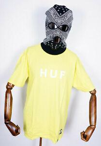 Huf Worldwide Skateboard T-Shirt Tee OG Logo Blazing Yellow in L