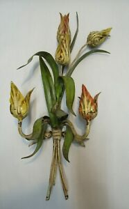 VINTAGE LARGE ITALY FLORAL TULIP TOLE METAL WALL DECOR HOLLYWOOD REGENCY SCONCE