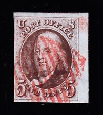 US 1a 5c Franklin Dark Brown w/ Red Grid Cancel Sheet Margin Used F-VF SCV $900