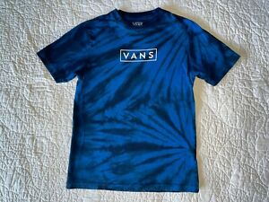 Boys VANS Blue Black Tie Dye Logo T-shirt Shirt Top Size M Medium 10-12  VGUC!