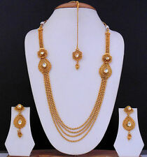 Indian Traditional Necklace Jewelry Kundan Gold Plated Ethnic Bollywood Set 8743