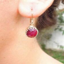 Hadar Designers 14k Gold Filled Filigree Red Ruby Earrings Fine Handmade(I e594)