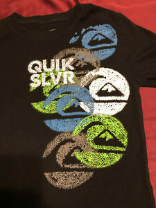 QuikSilver Boys size M - MEDIUM T-Shirt BLACK Mountain Wave