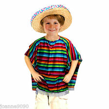 Kinder Jungen Mädchen Mexiko Mexikanisch Poncho Cowboy Gringo Fest Maskenkostüm