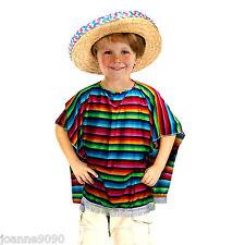 CHILDS BOYS GIRLS MEXICO MEXICAN PONCHO COWBOY GRINGO FIESTA FANCY DRESS COSTUME