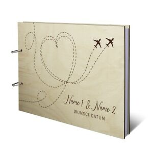 Hochzeit Gästebuch Birkensperrholz Cover individuell DIN A4 quer - Flugzeuge