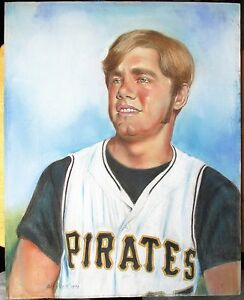 1970s Original Pastel Artwork by Warren Pratt Jim Shellenback Pittsburgh Pirates