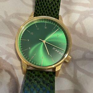 Komono Winston Green Gold Lizard Snakeskin Watch
