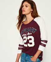 New Womens Superdry Varsity Applique Top Princeton Red