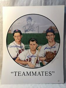 Dom DiMaggio Bobby Doerr Johnny Pesky Signed Boston Red Sox Teammates Lithograph