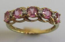 9 KT di seconda mano Giallo Oro Ovale Zaffiro Rosa Multi Anello di diamanti Taglia P