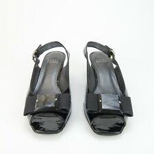 Stuart Weitzman Black Patent Leather Peep Toe Slingback Bow Pump Heel Size 8 M