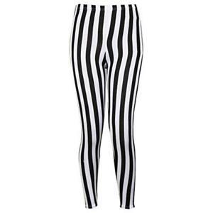 Ladies Monochrome Contrast Stripe High Waist Stretch Leggings