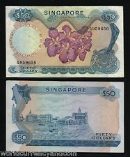 SINGAPORE $50 P5C 1972 WITHOUT RED SEAL BOAT ORCHID AUNC RARE CURRENCY BANK NOTE