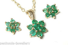 9ct Gold Emerald Cluster Pendant and Earring Set Gift boxed