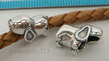 1x OXIDIZED STERLING SILVER Cute Puppy Dog EUROPEAN BRACELET CHARM BEAD #2067