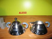 ALESSI *NEW* Set crémier H.4,5cm + sucrier H.8cm poignée bleu clair