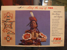cpa publicitaire pub TWA compagnie aerienne indien indian country
