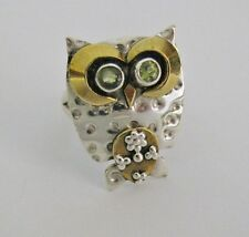 Otto Owl Ring - Solid 925 Sterling Silver, Brass & Peridot Gemstones - Size 10
