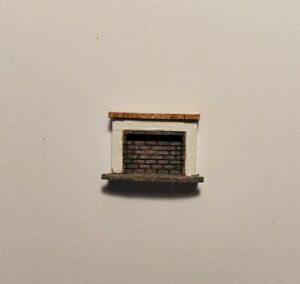 Dollhouse Miniature 1:144 Scale White Wood and Gray Brick ASSEMBLED Fireplace