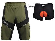 Mens Mountain Bike Bicycle Shorts 3D Padded MTB Cycling 1/2 Pants+Inner Shorts